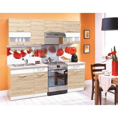 Kuchyňská linka MODENA 220, buk/bílá lesk