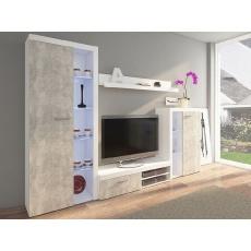 ROBIN obývací stěna, beton / bílá