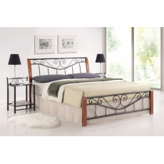 Kovová postel 160x200cm BRITA, třešeň antická / černá