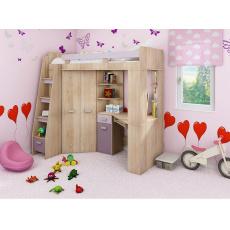 ELZA rohová patrová postel, růžová